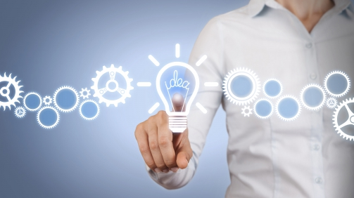 Idea Light Bulb Touching on Visual Screen