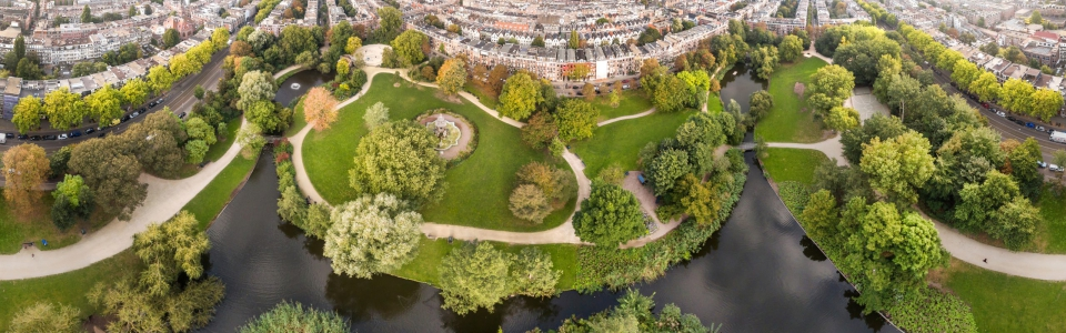 Aerial view of Amsterdam city roofs beside Sarphati park